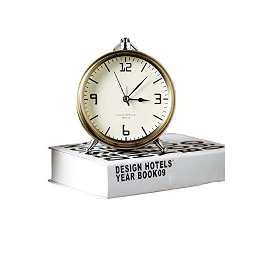 Reloj despertador decorativo de metal con silencio retro creativo, para escritorio, estilo europeo, para mesilla de noche, reloj despertador con adornos fáciles de instalar (color: B)