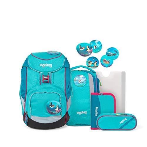 ergobag pack Set - ergonomischer Schulrucksack, Set 6-teilig - Hula HoopBär - Blau