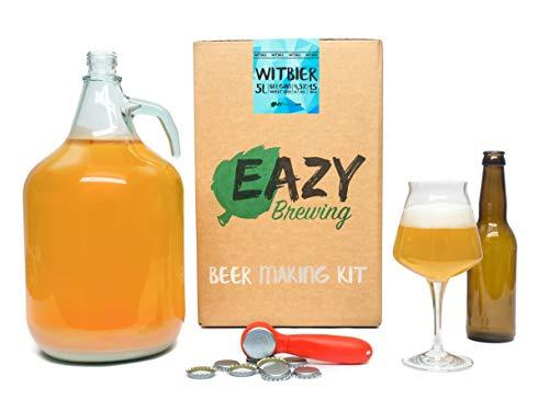 Eazy BrewingKit de elaboración de cerveza de 5 litros - Cerveza blanca belga - Witbier - Caja de regalo para preparar su propia cerveza artesanal – Instrucciones en Español