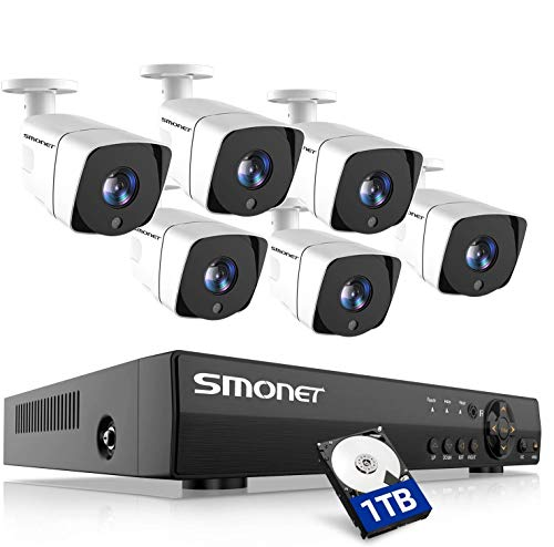 SMONET Security Camera System Outdoor,8 Channel Home Security System(1TB Hard Drive),6pcs...