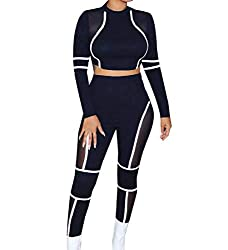 Abetteric Women Sexy Yoga Sports See Through 2pcs Set Cropped Sport Tracksuit