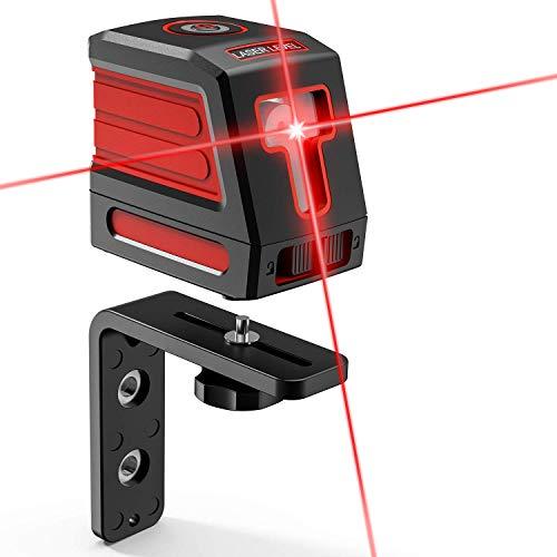 レーザー墨出し器 2ライン 【高輝度&高精度 昇進版】「L型マグネットブラケット付き」赤色 ミニ型 自動水平調整機能 防塵防水IP54 吉川優品 クロスラインレーザー 持ち運び便利 収納バック付き AA電池4本付き
