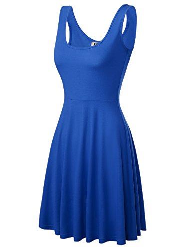 DJT Damen Vintage Sommerkleid Traeger mit Flatterndem Rock Blumenmuster Blau-2 L