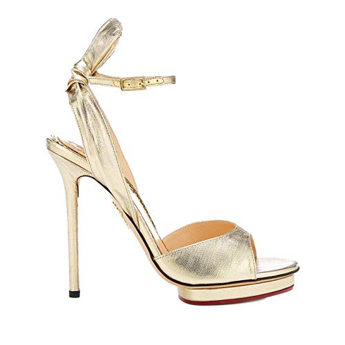 Charlotte Olympia Metallic Gold Wallace Bow Sandals Heels (39)