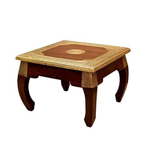 Casa Moro Mesa de opio oriental de latón S 38 x 38 cm, altura 32 cm, de madera maciza sheesham, mesa auxiliar vintage, artesanal, MA5410