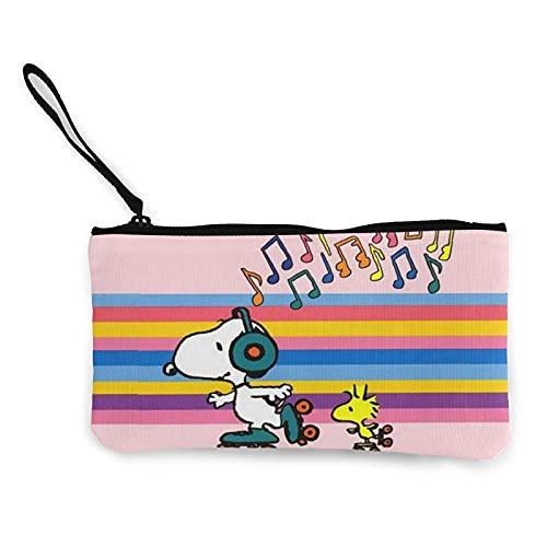 Animación Snoopy Monederos de lona se pueden utilizar como estuche de viaje cosmético para lápices de pluma Entrainment con cremallera bolsa de efectivo para estudiantes hombres y mujeres