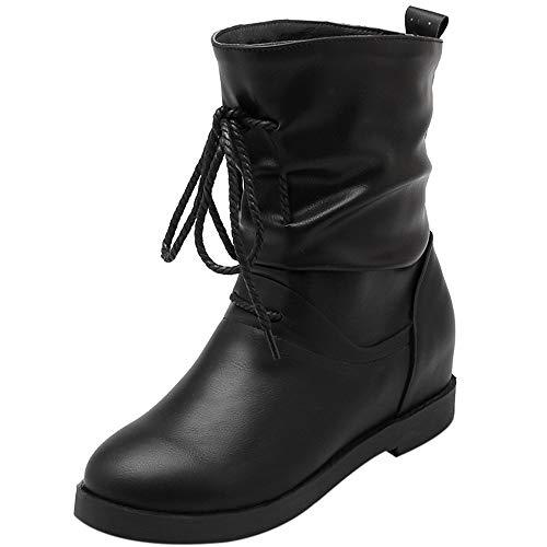 Vovotrade Dames lange laarzen laarzen winterschoenen met veters retro sneeuwlaarzen geel, rood, zwart, grijs EU 36-41
