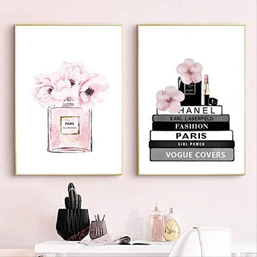 WADPJ mode parfum fles boek poster muurkunst canvas schilderij aquarel bloemen Vogue schilderij schilderij woonkamer huis decoratie 40x50cmx2 st. Geen lijst