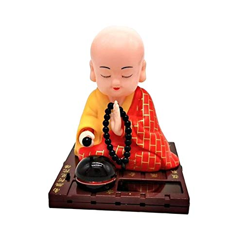 MagiDeal Solar-Powered Dancing Figure Ornament, Solar Power Nodding Head Dancing Toy Bobblehead Doll - Buddhist Monk - Yellow