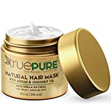 TruePure Natural Hair Mask and Argan Oil Treatment (8 oz.) Deep Conditioning for Dry, Damaged, or Color Treated Hair | Coconut, Jojoba, Saw Palmetto | Fragrance Free and Sulfate Free Hair Repair