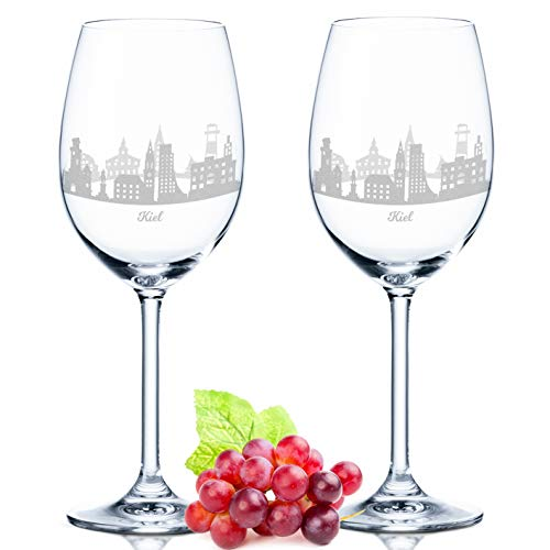 Leonardo Weinglas mit Gravur - Kiel Geschenk im 2er Set - Weingeschenk - Souvenir Andenken & Mitbringsel - Geburtstagsgeschenk für Sie & Ihn