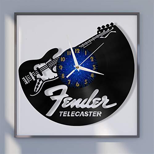 Telecaster Guitarra eléctrica Reloj de Pared de Vinilo de 12 Pulgadas, Reloj...