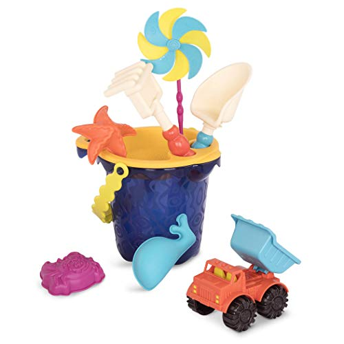 B toys – Sands Ahoy – Beach Playset  Medium Bucket Set Navy with 9 Unique Sand amp Water Toys –Phthalates and BPA Free – 18 m