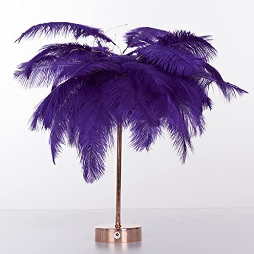 Lámpara de Mesa de Plumas, Lámpara de Noche LED Junto a la Cama con Mando a Distancia, USB y Alimentado por Batería, para Dormitorio, Luces Decorativas de Boda (Color : Purple)