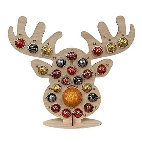 Yuvera - Espositore per cioccolatini in legno con calendario dell'avvento a forma di albero di Natale o alce per cioccolatini, decorazione stagionale perfetta