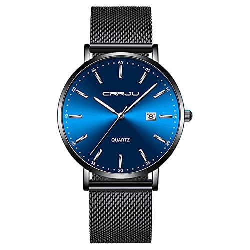 XIAN Reloj Ultrafino para Hombre, Reloj Deportivo de Cuarzo Resistente al Agua con Movimiento japonés a la Moda para Hombre, Reloj con Fecha para Hombre,D