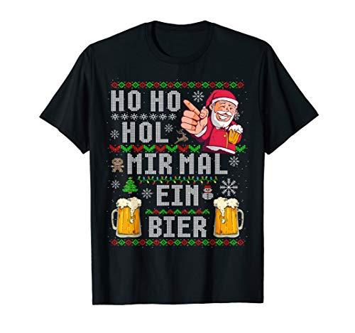 Herren Witziges Weihnachten Ho Ho Hol mir ein Bier Ugly Christmas T-Shirt