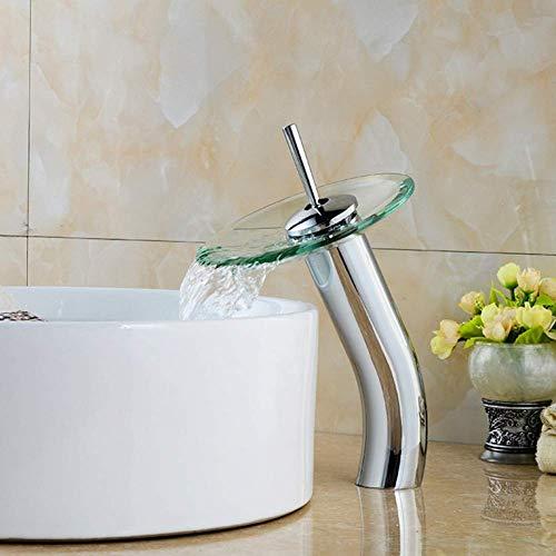 Paddestoel Gevormde Kraan Lange hals Glas Badkamer Waterval Kraan Transparant Kraan vaas Water Kraan Badkamer wastafel Mixer