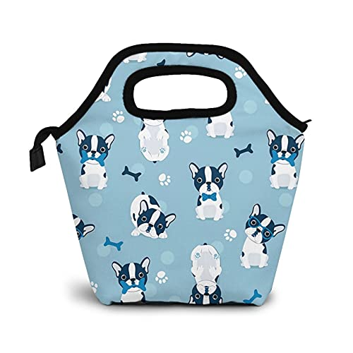 ONE TO PROMISE Kids Lunch Bag insulated Frenchie French Bulldog Grey Borns Paw Lunch Bag Tote Large Lunch Boxes Cooler Meal Prep Lunch Tote With Shoulder Strap for Boys Girls Teens Women Adults