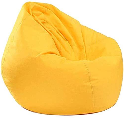 yxx Sitzsack Große Bohnenbeutel-Stuhl-Sofa-Couchabdeckung ohne Füllstoff-fauler Liege Hoher hinterer Buttersackstuhl mit DREI Seitentaschen for Erwachsene und Kinder (Color : Yellow)