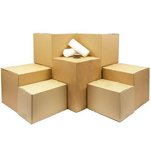 Color marr/ón Moving Home Store 10 Cajas de cart/ón Extra Grandes y Resistentes para Guardar Cajas de mudanza rotulador y 10 Pegatinas Grandes fr/ágiles de 457 mm x 457 mm x 457 mm Doble Pared