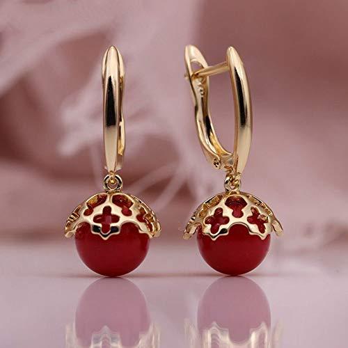 CHQSMZ Pendientes nuevos Pendientes Largos de Perlas de Concha Redonda 585 Pendientes Colgantes de Oro Rosa para Mujer, joyería de Moda Fina y Bonita para Boda romántica Hueca