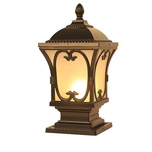 HLR Paalverlichting voor buitenshuis tuin buitenlamp in antieke look poller zuil lamp glas landschap lantaarn E27 Villa vloerlampen