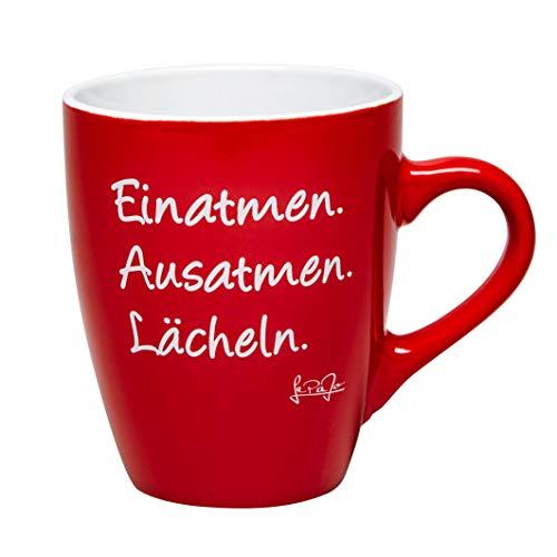 LePaJo Kaffeetasse mit Sprüchen: Einatmen. Ausatmen. Lächeln. Farbenfrohe Kaffeetasse oder Lieblingstasse, das besondere Geschenk