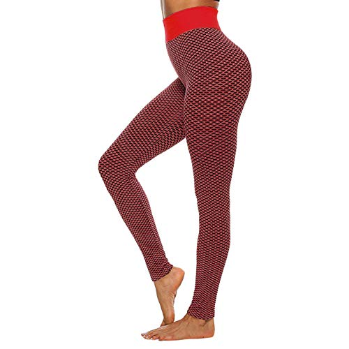 HWTOP Damen Yogahosen Gitterdruck Gamaschen Hohe Taille Stretch Trainingshose Strethcy Fitness Leggings Yoga Hose (Keine Positionierung Drucken), Rot, S