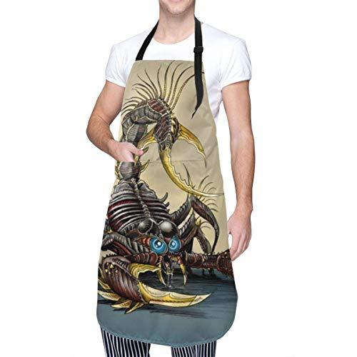 Scorpion Animal Men Frauen Latzschürze mit Tasche & verstellbaren Krawatten, russische Matroschka-Puppe Küchenchef Schürze Küchenschürze zum Kochen