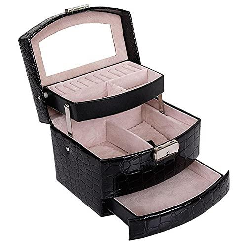 NFRADFM Joyero, caja de joyería de cuero, caja de almacenamiento de tres capas, para mujer pendiente, anillo, organizador cosmético, para decoraciones