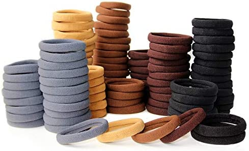 100 Pack Thick Elastics Hair Ties High Stretch Seamless Cotton Hair Bands Ponytail Holders Headband product image