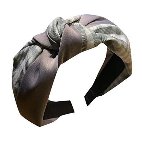 CANDLLY Stirnband Damen, Kopfbedeckung Zubehör Frauen Gestreiftes Karierten Leopard Bogen Stirnbands Haarband Haargurt Zubehörs Kopfschmuck (Grau,One size)