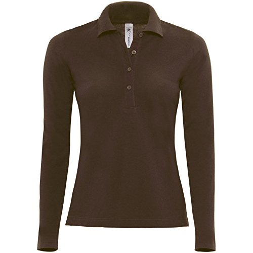 B&C Damen Womens Safran Pure Long Sleeve Polo Poloshirt, Braun (Brown 000), 42 (Herstellergröße: X-Large)