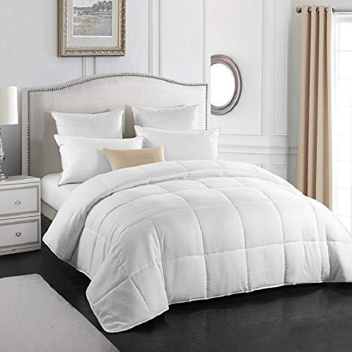 Qucover All Season White Comforter Duvet Insert - Hypoallergenic - All Season Breathable Down Alternative Comforter King Size