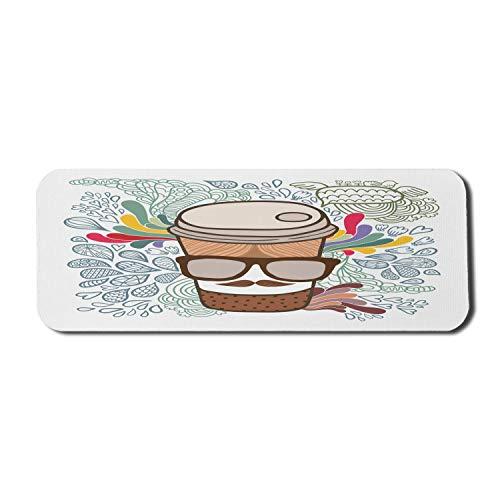Schnurrbart Computer Mauspad, gepunktete Cartoon Kaffeetasse mit Brille auf Regenbogen Farbe Doodle Hintergrund, Rechteck rutschfeste Gummi Mousepad große mehrfarbig