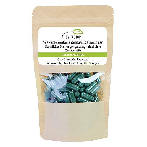 Wakame Kapseln (Undaria pinnatifida)   1 Packung = 60 x 500 mg   Ohne Zusatzstoffe  Hochdosiertes Algen-Pulver in veganen Kapseln   GMP-zertifiziert   Natürliches Jod aus Algen   Hergestellt in Deutschland