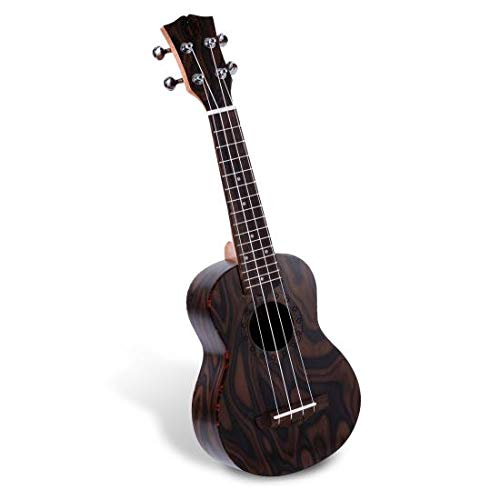 Solid Wood Mahogany Soprano Ukulele Professional Instrument with Flamed Brown Body, Black Walnut Fingerboard and Bridge - Pyle Pro PUKT55