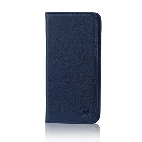 32nd Klassieke Serie - Echt Lederen Book Portemonnee Flip Hoesje Cover voor Huawei P10 Lite, Echt Lederen Ontwerp Met Kaartsleuf, Magnetische Sluiting en Ingebouwde Standaard - Marineblauw