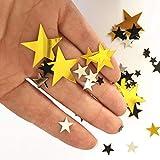 Confeti de Estrellas Metalizadas con Brillo, Confetti de 30g Dorado Plateado y Negro Iridiscente, Accesorios para Decorar en Celebraciones, Bodas, Cumpleaños, Graduaciones (Estrella Metalizada)
