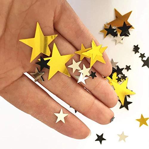 Confeti de Estrellas Metalizadas con Brillo, Confetti de 30g Dorado Plateado y...