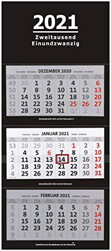 XXL 3-Monatskalender 2021 schwarz großer Wandkalender Bürokalender Monate black