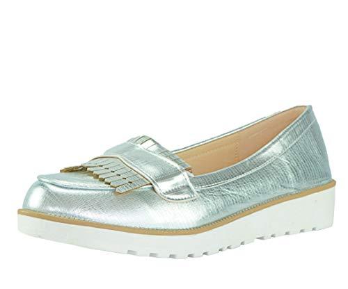 CAPRIUM Moderne Schuhe Espadrilles Sandalen Mokassin Fransen Halbschuhe, Damen 000M2001 (40, Silber M2002)
