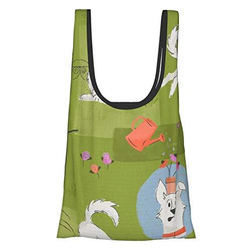 Bolsas de comestibles de jardinería para perros, bolsas de compras, bolsas de regalo, reutilizables, plegables, ecológicas, impermeables, Ripstop con bolsa