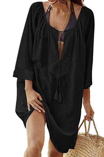 copricostume donna nero lungo L-Peach Donna Cotone Pizzo Parei Copricostumi Bikini Cover Up Lunga Camicia Tunica Abito da Spiaggia Mini Abito Vestito Beachwear