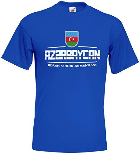 AkyTEX Aserbaidschan Azerbaycan Fanshirt T-Shirt WM2018 Royalblau M