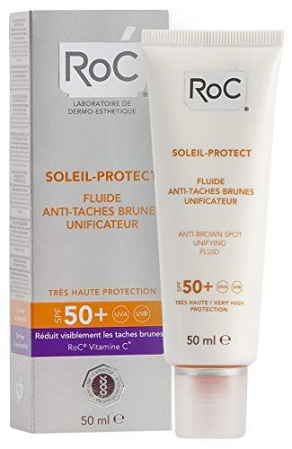 RoC - Soleil-Protect Harmonisierendes Anti-Flecken-Fluid SPF 50 - Sonnenschutz - Reduziert Pigmentflecken - Verbessert und Schützt die Haut - 50 ml