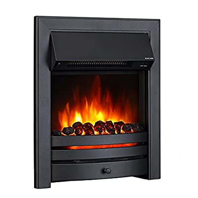 Endeavour Fires Roxby Inset Electric Fire, Black Trim and Fret, 220/240Vac 1&2kW, 7 day Programmable Remote control