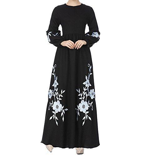 NINGSANJIN Muslim Abaya Frauen Muslimische Kleider Damen islamische Kleider Druck Elegant Slim Lang Kleid Islamische Gebetskleidung Faltenkleid Maxi Solid Swing (Schwarz,XL)
