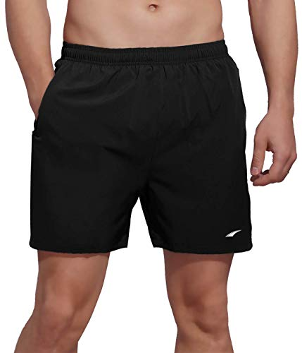 VAYAGER Men's Running Shorts 5 Inch Quick Dry Workout Athletic Performance Shorts with Liner and Zipper Pocket(Black XXL)